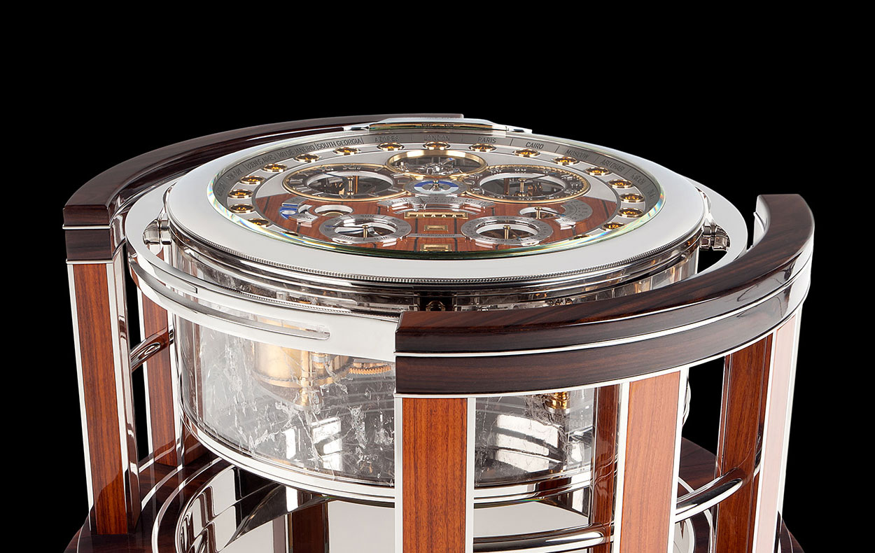 Observatory dial, tourbillon on show inside an architecture cabinet.
