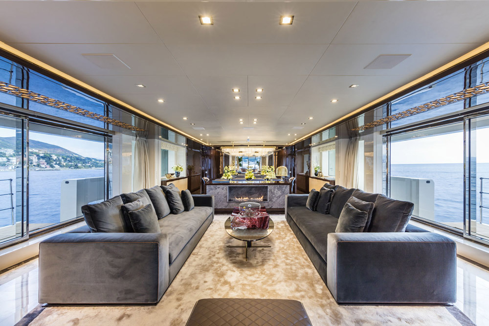 Luxurious interior of large yachts