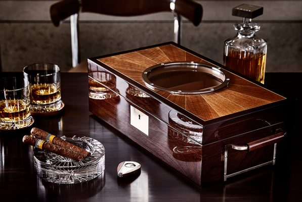 Exclusive designs: Linley furniture's hand made lux deco cedar wood humidor.